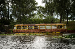 Stary tramwaj w wodzie w Chernobyl Obraz Stock