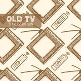 Stary TV bezszwowy wzór Zdjęcie Royalty Free