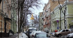 Stary uliczny Desyatinnaya w dziejowym centrum Kijów Obrazy Stock