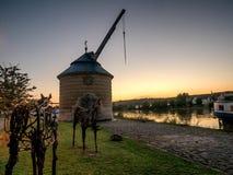 Stary żuraw w Marktbreit, Niemcy Zdjęcia Stock