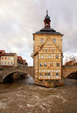 Stary urząd miasta w Bamberg w zimie (Niemcy) obrazy royalty free