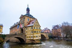 Stary urząd miasta w Bamberg podczas gdy ja śniegi, Niemcy Obraz Stock