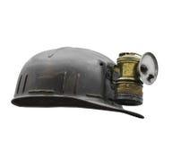 Stary węglowy miner's kapelusz odizolowywający Zdjęcie Royalty Free