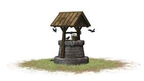 Stary well i ptaki - na białym tle Obraz Stock
