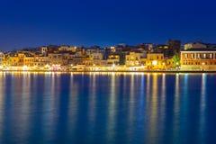 Stary Wenecki port Chania przy nocą, Crete Zdjęcie Stock
