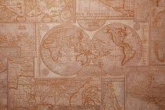 Stary świat mapy rocznika wzór Zdjęcia Royalty Free