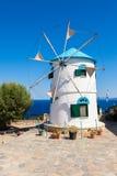 Stary wiatraczek w Agios Nikolaos blisko błękit jam w Zakynthos Zan Obrazy Royalty Free