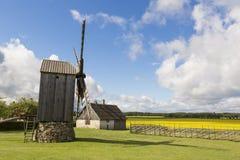 Stary wiatraczek w Angla dziedzictwa kultury centrum, Estonia Obraz Royalty Free