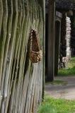 Stary wieśniaka ogrodzenie z bast butami Obraz Royalty Free