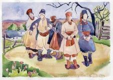 Stary wiejski ślub ilustracja wektor