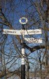 Stary wiejski drogowy znak z postbox, Zdjęcie Stock