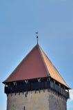 Stary wierza z kogutem na wierzchołku dach Zdjęcia Royalty Free