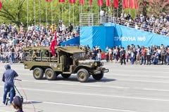 Stary wojskowy odtransportowywa przy paradą na rocznym zwycięstwo dniu, Maj, Obraz Royalty Free