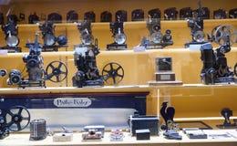 Stary wyposażenie w muzeum kinematografia fotografia stock