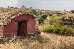 Stary wytwórnia win w Santa Croya De Tera w prowincji Zamora (Hiszpania) obraz stock