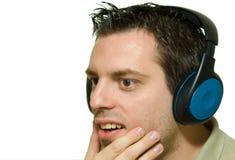 stary young zdziwionych słuchawki Zdjęcie Royalty Free
