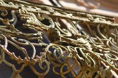 Stary złoty Balkonowy poręcz Obrazy Stock