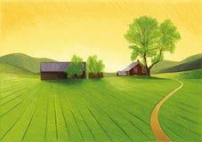 stary z gospodarstw rolnych ilustracja wektor