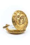 Stary złocisty kieszeniowy zegarek Fotografia Stock