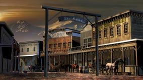 Stary zachodni miasteczko blisko do gór ilustracji
