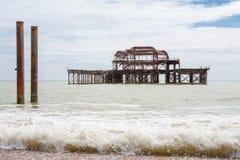Stary Zachodni molo. Brighton, UK Obrazy Royalty Free