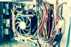 Stary zakurzony komputer osobisty płyty głównej kabli rocznika koloru skutek Fotografia Stock