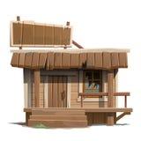 Stary zaniechany drewniany dom z znakiem ilustracji