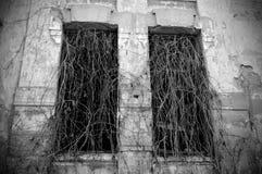 stary zaniechany dwór w czarny i biały brzmieniach obrazy stock