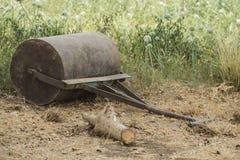 Stary zaniechany ogrodowy rolownik w łące Obraz Stock