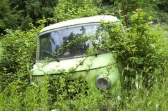 Stary zaniechany przerastający samochód obrazy royalty free