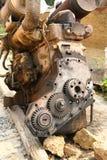 Stary Zaniechany Rdzewiejący Ciężarowy silnik Zdjęcia Royalty Free