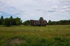 Stary zawalony drewniany dom na zielonym polu zdjęcia royalty free