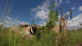 Stary zdewastowany ceglany dom w łące, 4K zbiory
