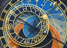 stary zegar astronomiczne kwadratowego miasta Zdjęcie Stock