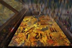 Stary zegar z wahadłem i stylizowanymi jesień liśćmi Zdjęcie Royalty Free