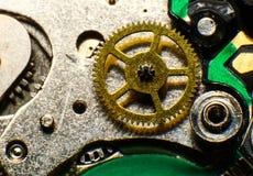 Stary zegarka mechanizm, makro- Zdjęcia Royalty Free
