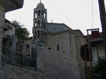 Stary zegarowy wierza przy Dimitsana miasteczkiem w Peloponnese Grecja Obraz Stock