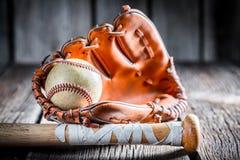 Stary zestaw bawić się baseballa Obraz Royalty Free