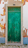 Stary zielony drewniany drzwi Fotografia Royalty Free