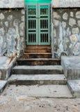 Stary zielony drzwi i kamienna ściana Obrazy Stock