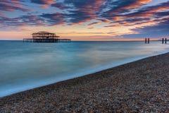 Stary zniszczony Zachodni molo w Brighton Obraz Royalty Free