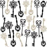 Starych kluczy bezszwowy wzór Fotografia Royalty Free