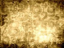 Starych liczb sepiowa tekstura lub tło Obrazy Royalty Free