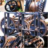 Starych ośniedziałych przekładni maszynowy kolaż fotografia Obraz Royalty Free