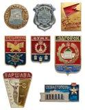 Starych Radzieckich miasteczk ikony geograficzny set Kostroma miasteczko złoty pierścionek Obraz Royalty Free