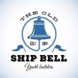 Starych statku jachtu Dzwonkowych budowniczych Retro styl Obraz Royalty Free