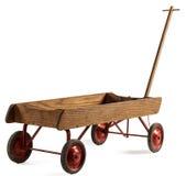 Starych zabawkarskich children drewniany furgon odizolowywający na bielu Fotografia Royalty Free