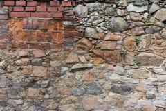 Starzejąca się ceglana i kamienna ściana Obrazy Royalty Free
