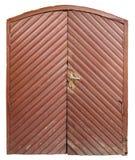 Starzejąca się drewniana brown brama stara retro wiejska jata Obraz Stock
