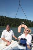 starzejący się łódkowatej pary środkowy żeglowanie Obraz Royalty Free